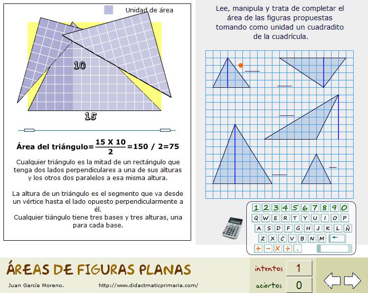 Ilustración dinámica y cálculo de áreas de figuras básicas