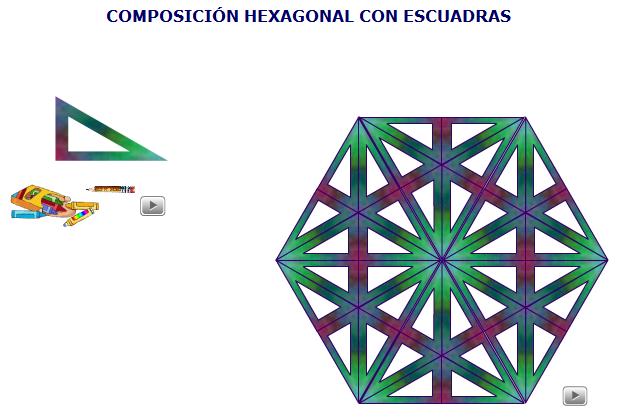 Composición hexagonal con escuadras