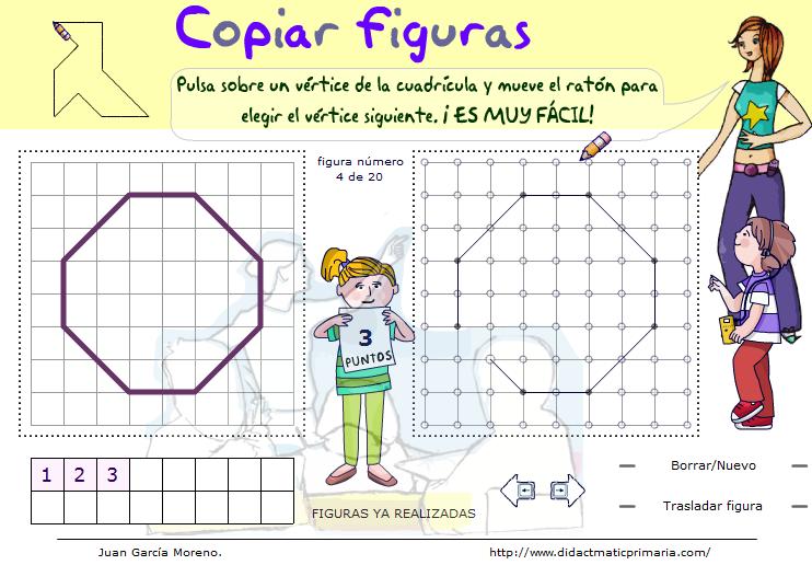 Copiar figuras propuestas sobre una trama ortométrica de puntos
