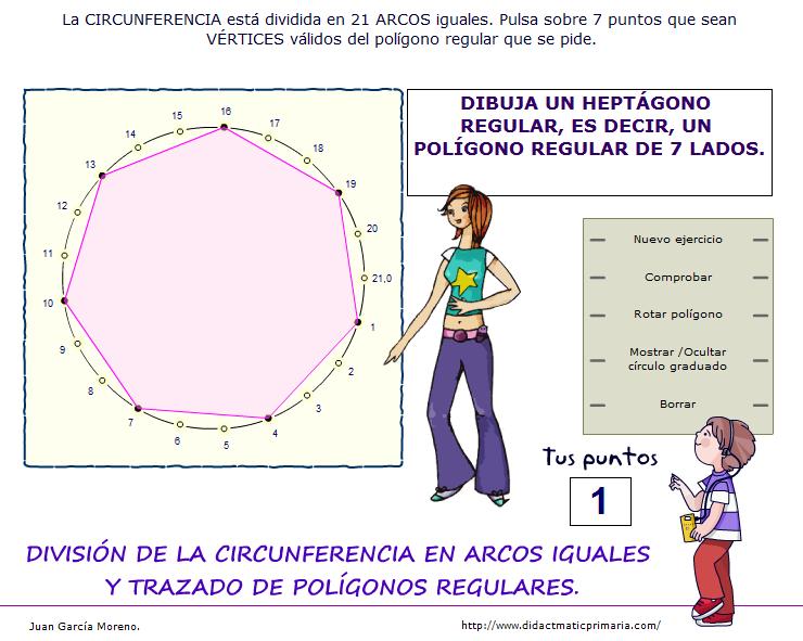 División interactiva de la circunferencia en arcos iguales y trazado de polígonos regulares