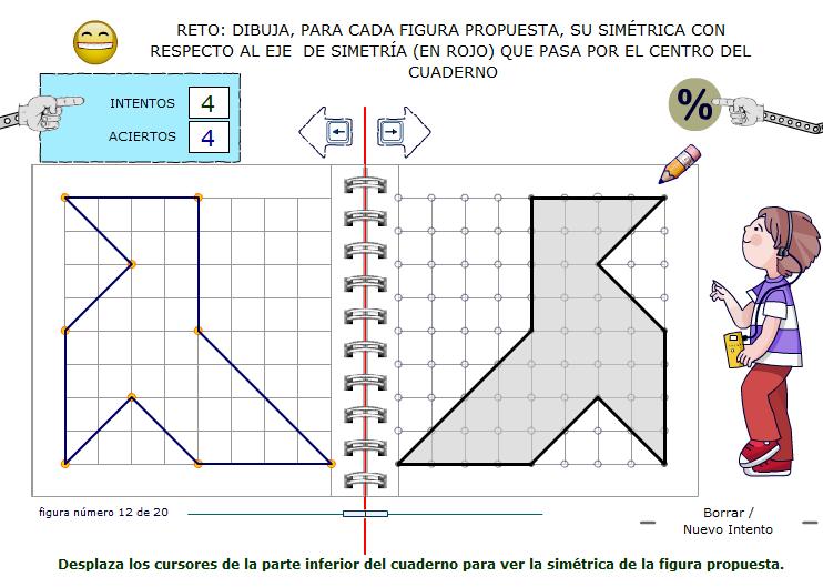 Trazado, sobre cuadrícula, de figuras simétricas a las figuras propuestas.