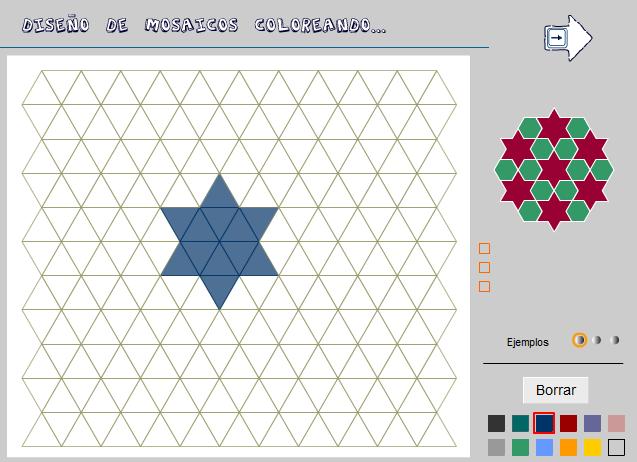 Diseño de mosaicos coloreando zonas resultantes de diferentes pavimentaciones del plano.