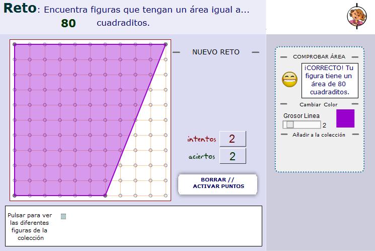 Áreas de polígonos con vértices sobre puntos de una trama ortométrica