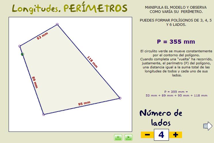 Formación de polígonos de un número de lados y perímetro dados