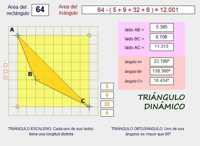 Cálculo estratégico del área  de un triángulo a partir del rectángulo circunscrito