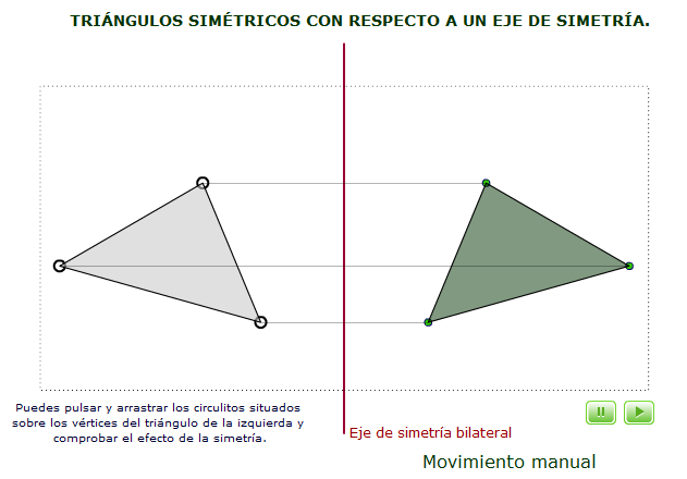 Triángulos dinámicos, interactivos y simétricos.